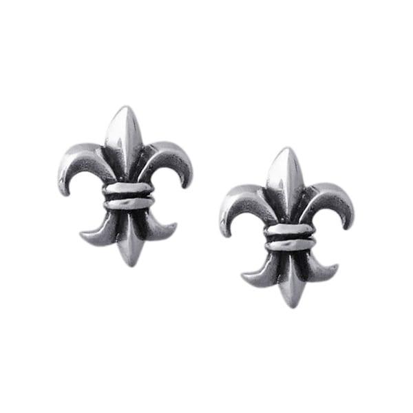Mini Fleur de Lis Sterling Silver Stud Earrings (Thailand)