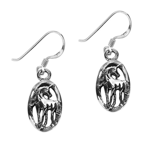 Oval Framed Magical Unicorn Sterling Silver Dangle Earrings (Thailand)