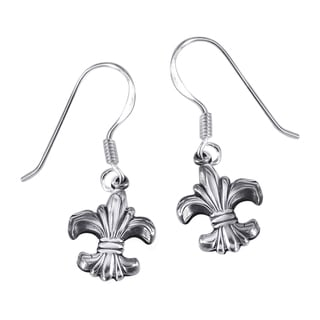 Floral Royalty Fleur de Lis .925 Silver Dangle Earrings (Thailand)