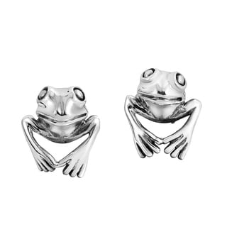 3D Leaping Frog Prince .925 Sterling Silver Stud Earrings (Thailand)