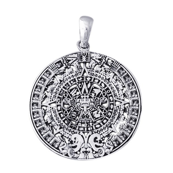 Historic 2012 Mayan Calendar .925 Sterling Silver Pendant (Thailand)