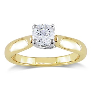 Miadora 18k Yellow Gold 1/2ct TDW Certified Diamond Ring (G-H, SI2-I1) (IGI)