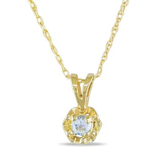 Miadora 10k Yellow Gold Aquamarine Solitaire Necklace