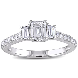 Miadora 14k White Gold 1 1/4ct TDW Diamond Emerald Cut Ring (G-H, I1-I2)