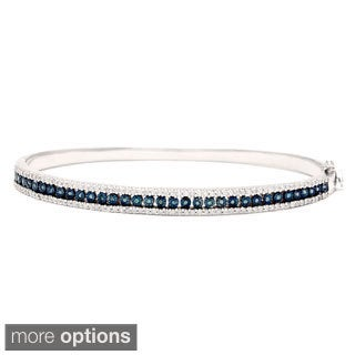 Sterling Silver 1ct TDW Black/Blue Multi Row Color Diamond Bangle