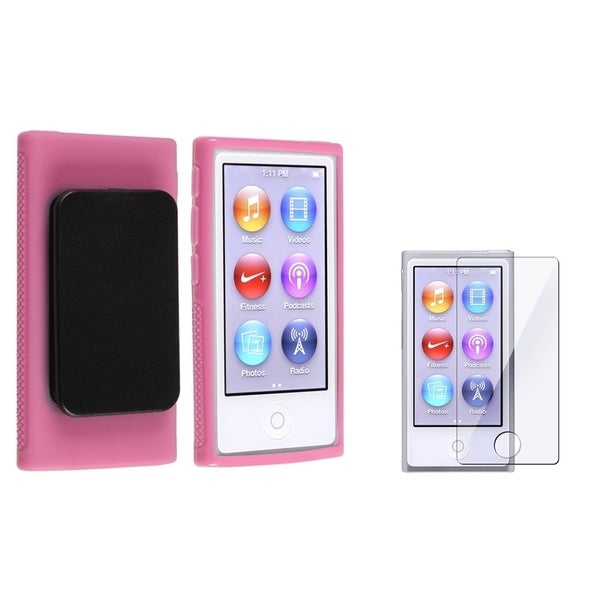 INSTEN Hot Pink TPU iPod Case Cover/ Screen Protector for Apple iPod nano 7