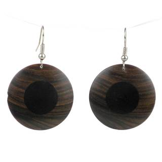 Handcrafted African Ebony and Teak Disk Earrings (Mozambique)