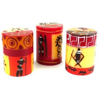 Hand Painted Candles - Three in Box -Damisi Design (South Africa)