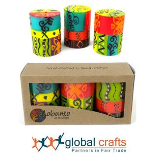 Set of Three Boxed Hand-painted Mini-Pillar Candles with Matuko Design (Set of 3) (South Africa)