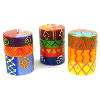 Set of Three Boxed Hand-painted Mini-Pillar Candles with Shahida Design (Set of 3) (South Africa)