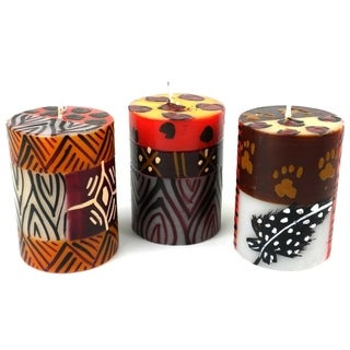 Set of Three Boxed Hand-painted Mini-Pillar Candles with Uzima Design (Set of 3) (South Africa)