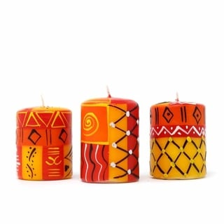 Set of Three Boxed Hand-painted Mini-Pillar Candles with Zahabu Design (Set of 3) (South Africa)