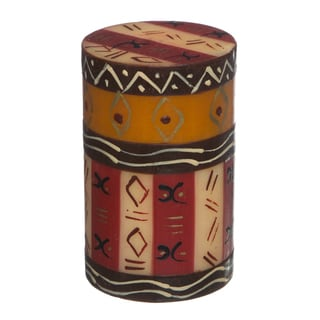 Single Boxed Hand-painted Pillar Candle with Bongazi Design (South Africa)