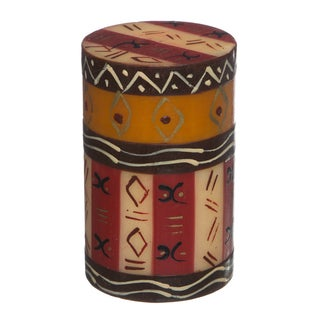 Single Boxed Hand-painted Pillar Candle with Bongazi Design , Handmade in South Africa
