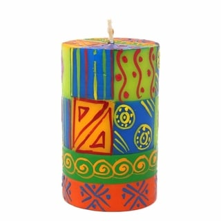 Single Boxed Hand-painted Pillar Candle with Shahida Design (South Africa)