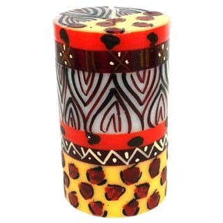 Single Boxed Hand-painted Pillar Candle with Uzima Design (South Africa)