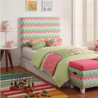 Kids' Twin Pink/ Green Chevron Upholstered Headboard