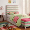 Kids' Twin Pink/ Green Chevron Upholstered Headboard