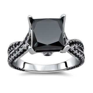 14k White Gold 3 1/2ct TDW Certified Black Diamond Twisted Shank Ring