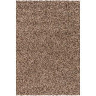 Hand-loomed Lagash Chocolate/ Camel Wool Shag Rug (8' x 11')