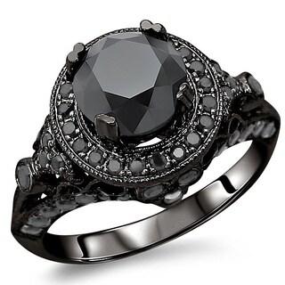 14k Gold 2 1/2ct TDW Certified Black Diamond Ring