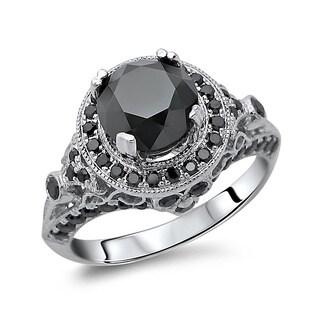 14k Gold 2 1/2ct TDW Certified Round Center Black Diamond Ring