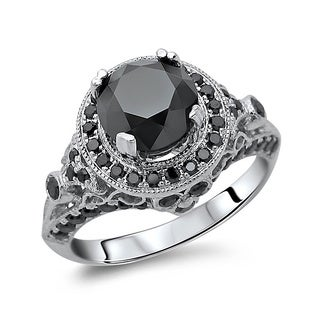 14k Gold 2 1/2ct TDW Certified Round Center Black Diamond Ring
