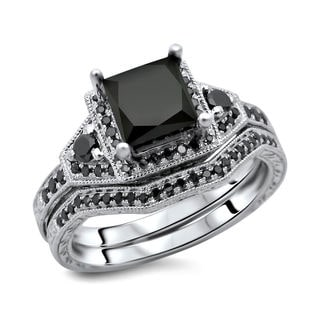 14k White Gold 2ct TDW Certified Black Diamond Princess Cut 2-Piece Ring Set