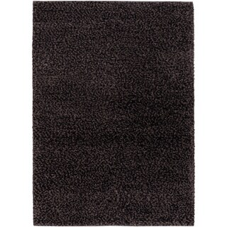 'Lagash' Midnight Grey Natural Wool Shag Rug (8' x 11')