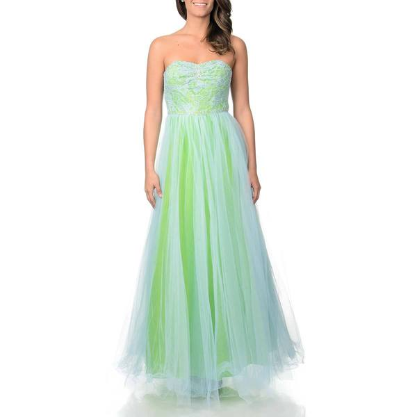 Betsy & Adam Women's Blue Green Mesh and Lace Ball Gown