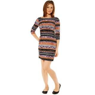 24/7 Comfort Apparel Women's Striped Knee Length Dress