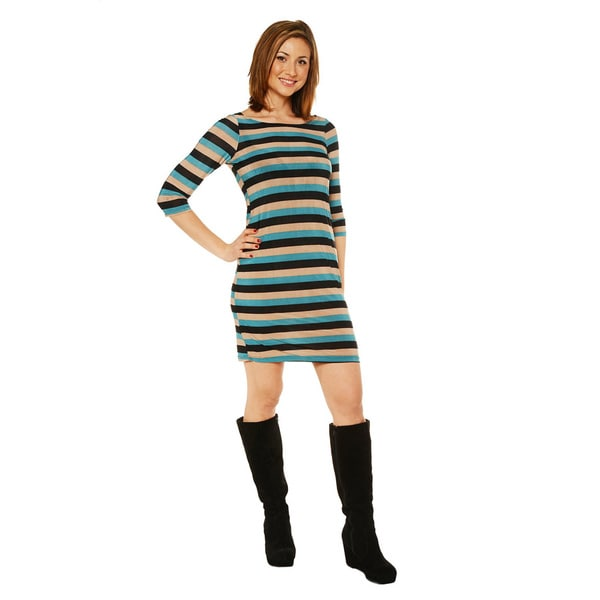 24/7 Comfort Apparel Women's Multi-stripe Knee Length Dress