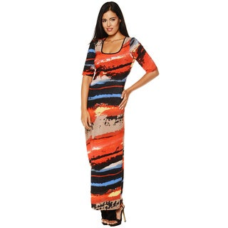 24/7 Comfort Apparel Women's Printed Elbow Sleeve Maxi Dress