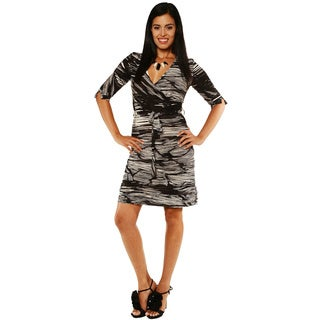 24/7 Comfort Apparel Women's Printed Knee Length Belted Dress