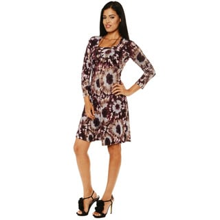 24/7 Comfort Apparel Women's Tie Dye Print Long Sleeve Dress