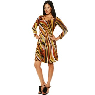 24/7 Comfort Apparel Women's Long Sleeve Striped Dress