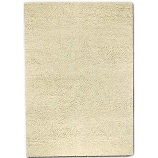 'Lagash' Ivory Natural Wool Shag Rug (5'6 x 8')