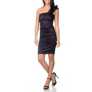 Betsy & Adam Women's Eggplant Taffeta One-shoulder Cocktail Dress
