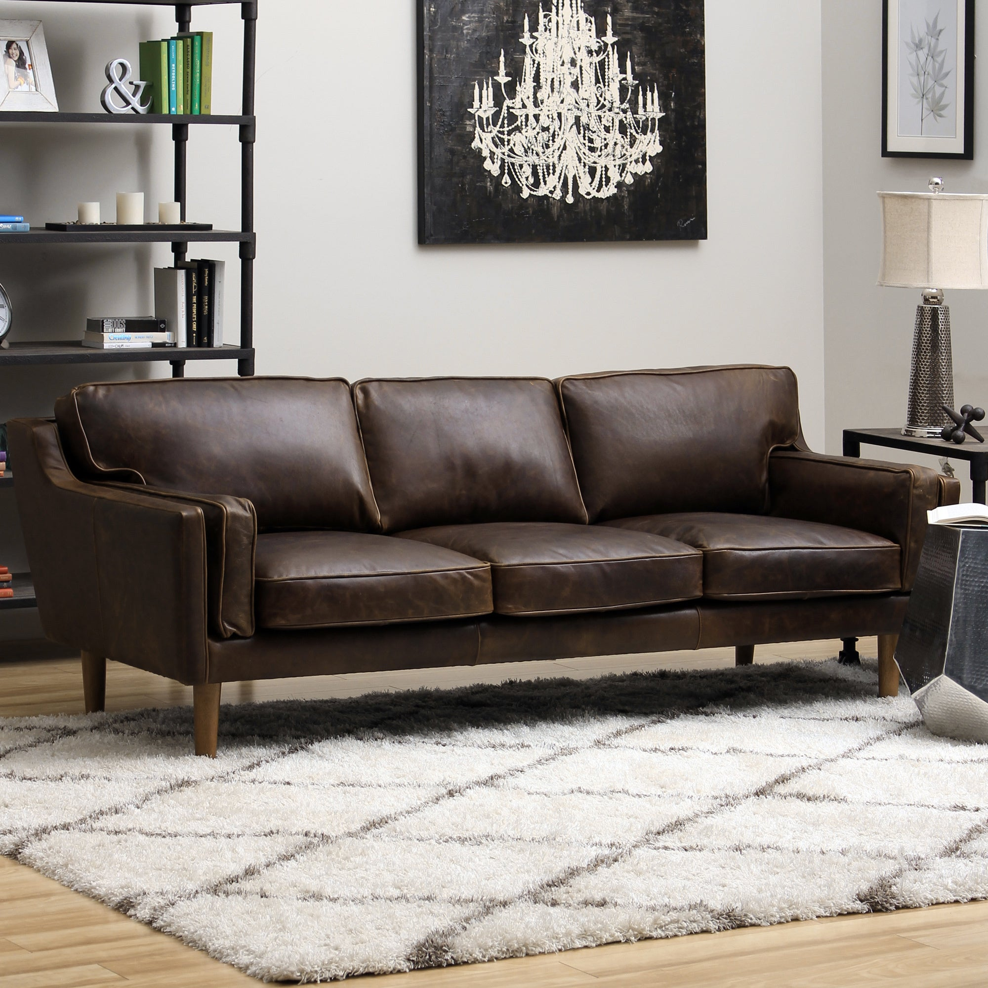 1cheap Beatnik Leather Sofa Columbus Chocolate Cheap