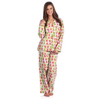 Leisureland Women's Owl Print Cotton Flannel Pajama Set