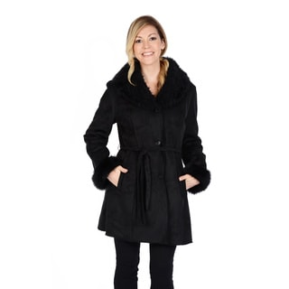 Excelled Women's Shearling Belted Coat