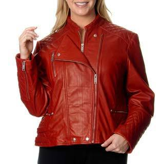 Excelled Women's Plus Size Red Leather Motorcycle Jacket