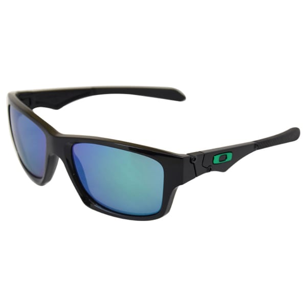 Oakley Women's 'OO9135-05 Jupiter' Squared Polished Black/Jade Iridium Sunglasses
