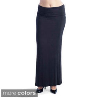 24/7 Comfort Apparel Womens' Fold-over Maxi Skirt