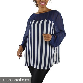 Women's Plus Size Long Sleeve Striped Top