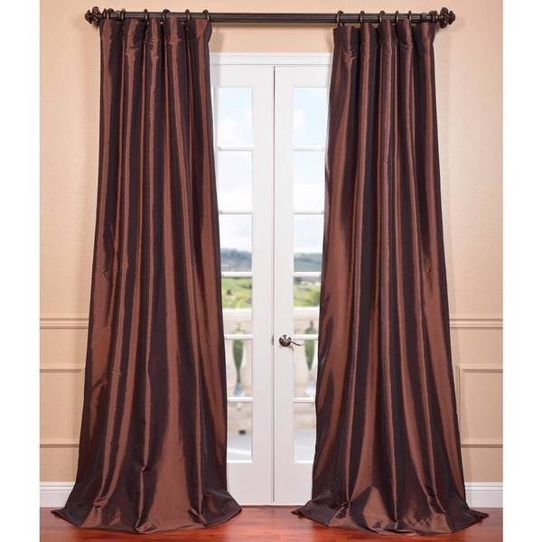 Rum Raisin Faux Silk Taffeta Curtain Panel