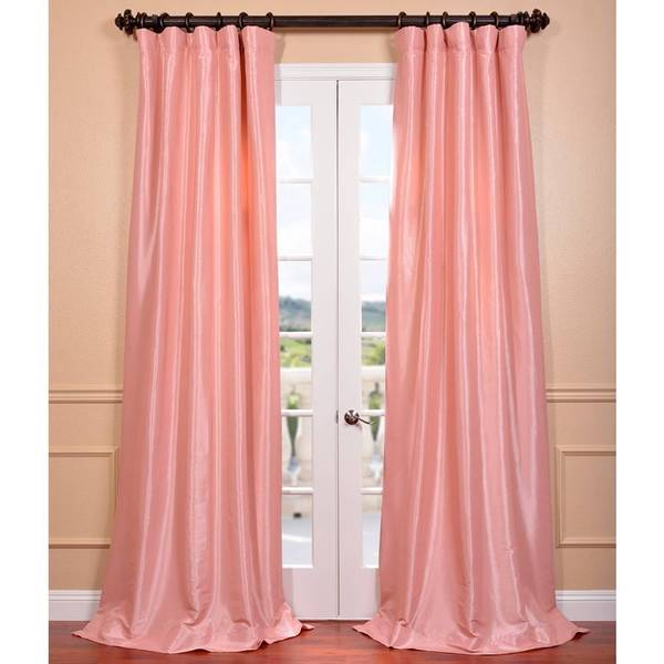 Flamingo Pink Faux Silk Taffeta Curtain Panel