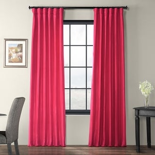 Fuchsia Rose Faux Silk Taffeta Curtain Panel