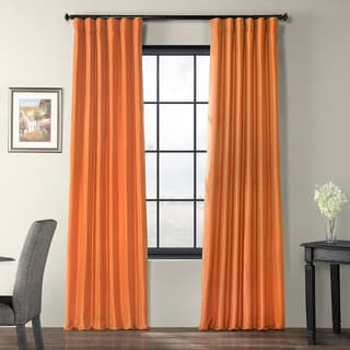 Harvest Orange Faux Silk Taffeta Curtain Panel