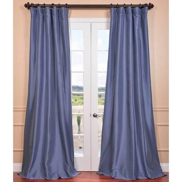 Wisteria Blue Faux Silk Taffeta Curtain Panel